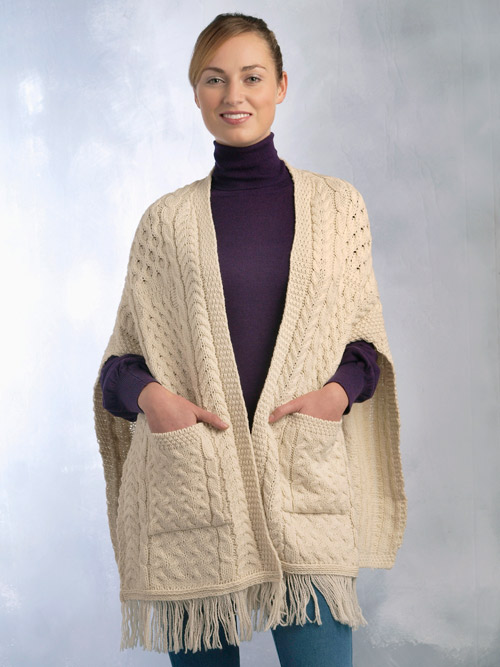 Aran Crafts Irish Aran Wool Sweater Womens Cable Knit Wrap Sweater Ladies Fringe Detail Tassle Sweater