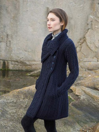 Aran Crafts Ladies Womens Wool Aran Long Sweater Coat Thigh Length Buttoned Long Cardigan with Chunky Draped Collar