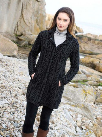 Aran Crafts Ladies Womens Wool Aran Long Sweater Coat Thigh Length Buttoned Long Cardigan Coat with Revere Collar Lapels