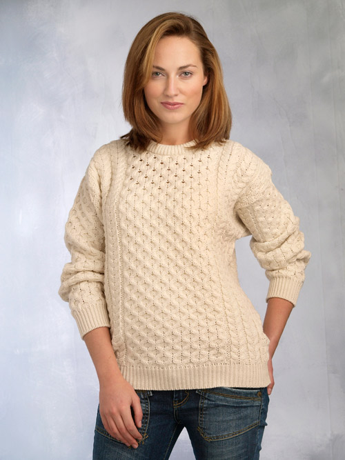 Aran Crafts Irish Aran Wool Sweater Womens Cable Knit Crewneck Sweater Pullover Jumper Crew Neck