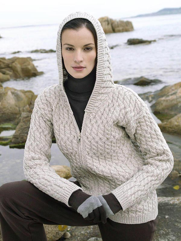 Aran Crafts Irish Aran Wool Sweater Womens Cable Knit Hooded Sweater Hoody Ladies Hoodie Sweater