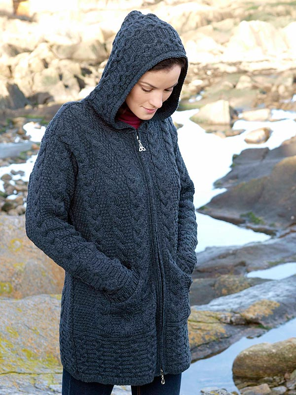 Aran Crafts Irish Aran Wool Sweater Womens Cable Knit Hooded Sweater Coat Ladies Coat Sweater