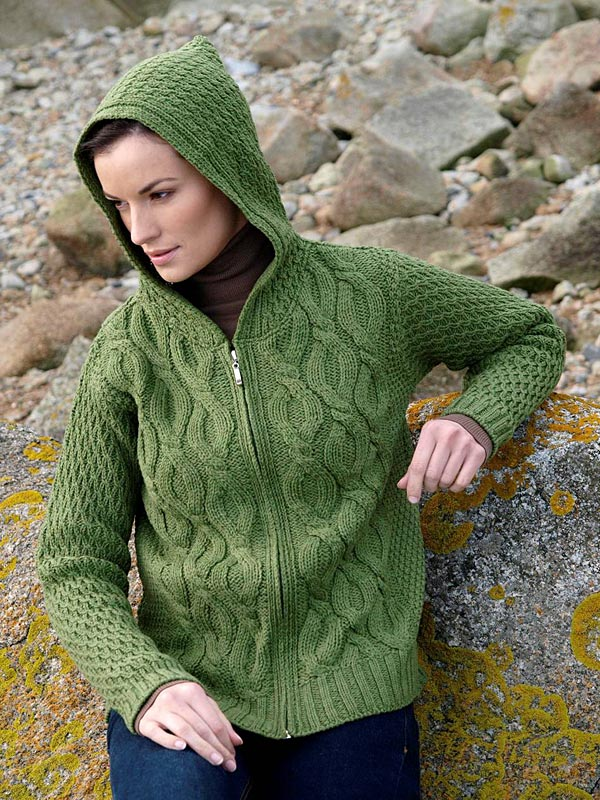 Aran Crafts Irish Aran Wool Sweater Womens Zip Cardigan Hoody Sweater