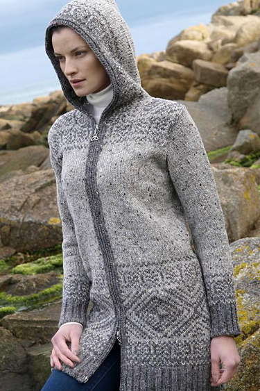 Aran Crafts Irish Ladies womens Hooded Fair Isle Nordic Jacquard Wool Sweater with Hood