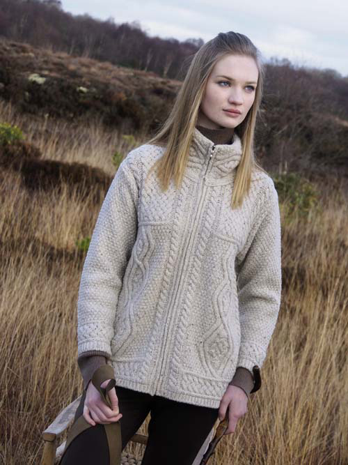Aran Crafts Ladies Womens Wool Aran Zippered Hip Length Cardigan Sweater N92