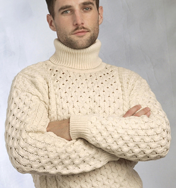 Aran Crafts Mens Wool Turtleneck Polo Neck Sweater