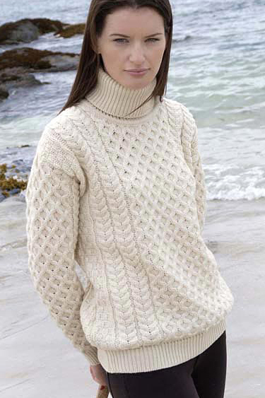 Aran Crafts Irish Ladies Womens Traditional Aran Turtleneck Wool Sweater
