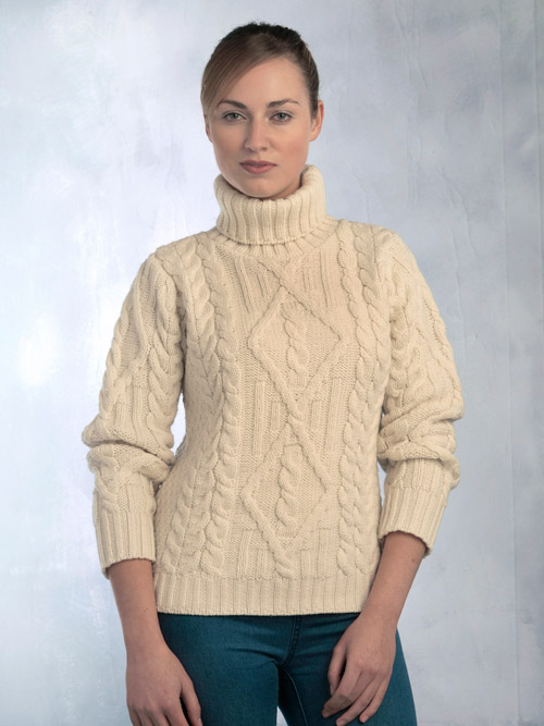 Aran Crafts Irish Aran Wool Sweater Womens Traditional Aran Diamond Pattern Roll Collar Polo Neck Ladies Jumper Pullover Turtleneck Sweater