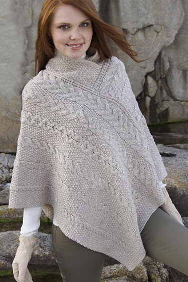 Aran Crafts Irish Aran Wool Sweater Womens Cape Poncho Ruana Sweater