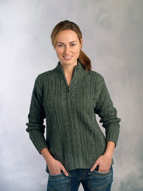 Aran Crafts Irish Aran Wool Sweater Womens Cable Knit Short Zip Cardigan Sweater Fully Zippered