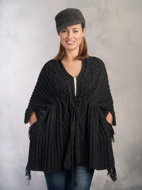 Aran Crafts Irish Aran Womens Wool Cable Knit Aran Stitch Fringe Wrap Sweater