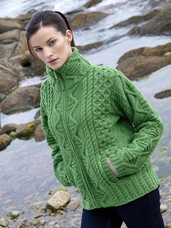 Aran Crafts Irish Aran Wool Sweater Womens Full Zip Cardigan Zippered High Collar Sweater