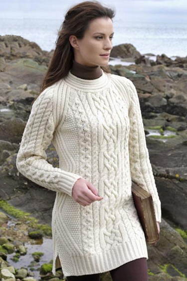 Aran Crafts Ladies Womens Wool Aran Tunic Sweater Pullover