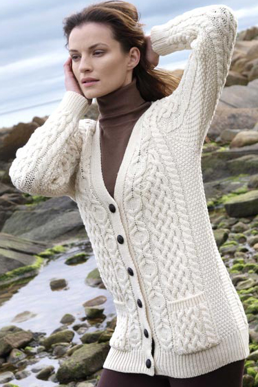 Aran Crafts Ladies Womens Wool Aran Wool Boyfiend Cardigan Sweater