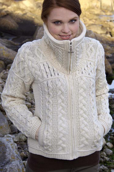 Aran Crafts Irish Aran Womens Wool Contemporary Kangaroo Hoody Zip Cardigan Wool Sweater