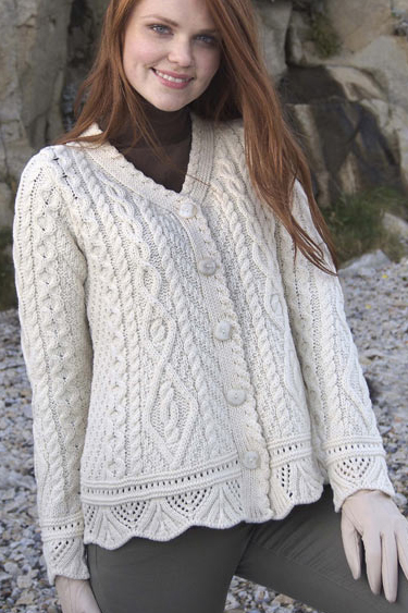 Aran Crafts Irish Aran Womens Wool Cable Knit One Button Sweater