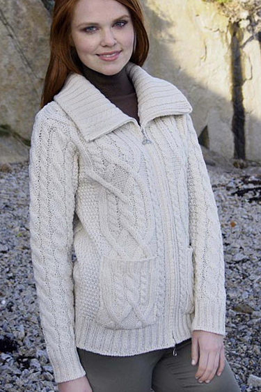 Aran Crafts Irish Aran Womens Wool Knit Round Neck Sweater Pullover