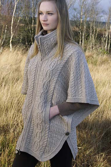 Aran Crafts Irish Aran Wool Sweater Womens Ladies Collared Side Buttoned Zippered Cape Poncho Cardigan Sweater with Funnel Neck and Double Collar Batwing Jacket
