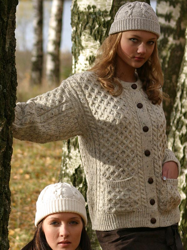 Aran Crafts Irish Aran Wool Sweater Womens Traditional Buttoned Cardigan With Pockets Sweater