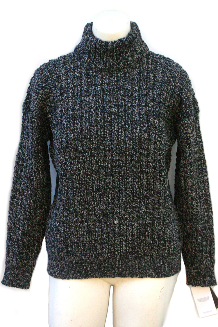 Aran Sweater Private Label Irish Mens Donegal Yarns Wool Mock Turtleneck Polo Neck Sweater Jumper Hand Loomed Hand Made