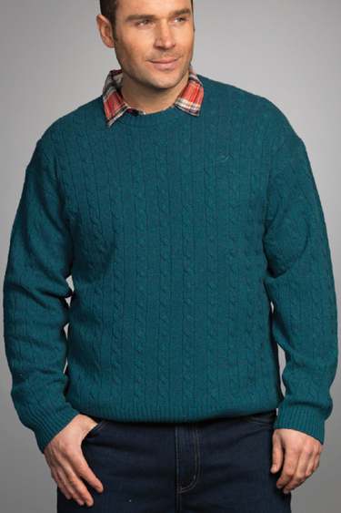 Carraig Donn Irish Aran Mens Wool Cable Knit Sweater Pullover