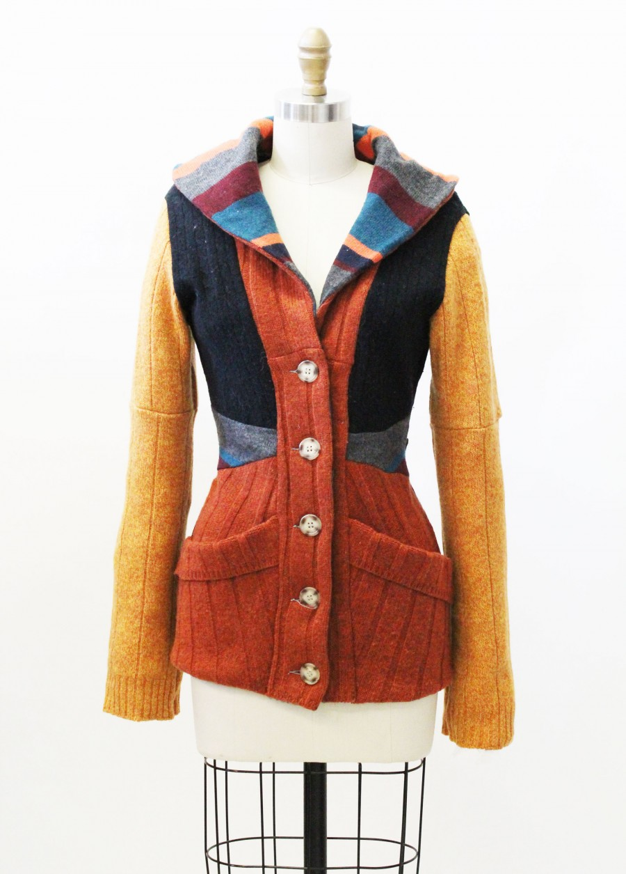 Hand Made Patchwork Sweater Cardigan Upcycled