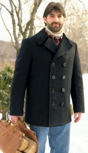 Mens Classic USN Wool Pea Coat by Sterling Wear