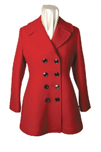 Womens Mid Length Flared Double Breasted Coat by Sterlingwear Of Boston