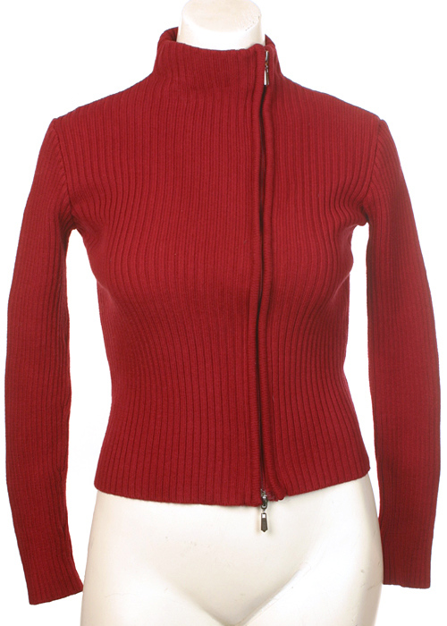 JCL Red Cotton Ribbed Sweater Womens M