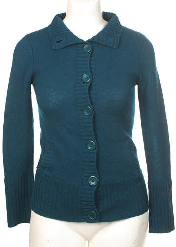 Thrift Shop Sweater Second Hand Forever Blue Dark Teal Green Cardigan Sweater Small