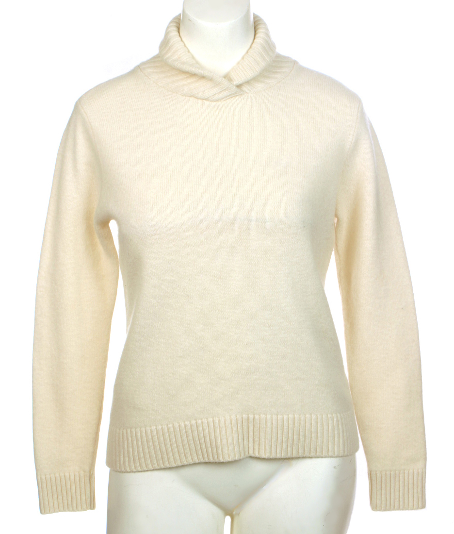 Thrift Shop Sweater Second Hand Lauren by Ralph Lauren L Ivory Shawl Collar