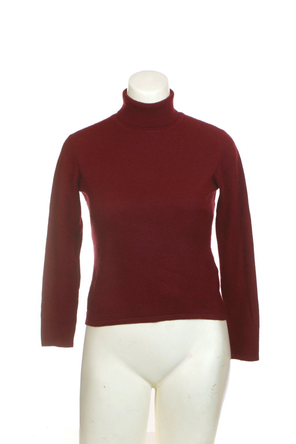 Thrift Shop Sweater Second Hand JaxSport Cashmere Petite S Burgundy Turtleneck