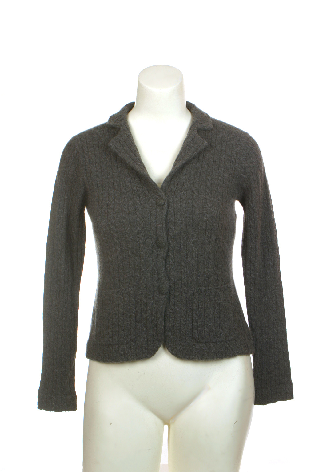 Thrift Shop Sweater Second Hand Wendy B Gray Cashmere Jacket Petite PS