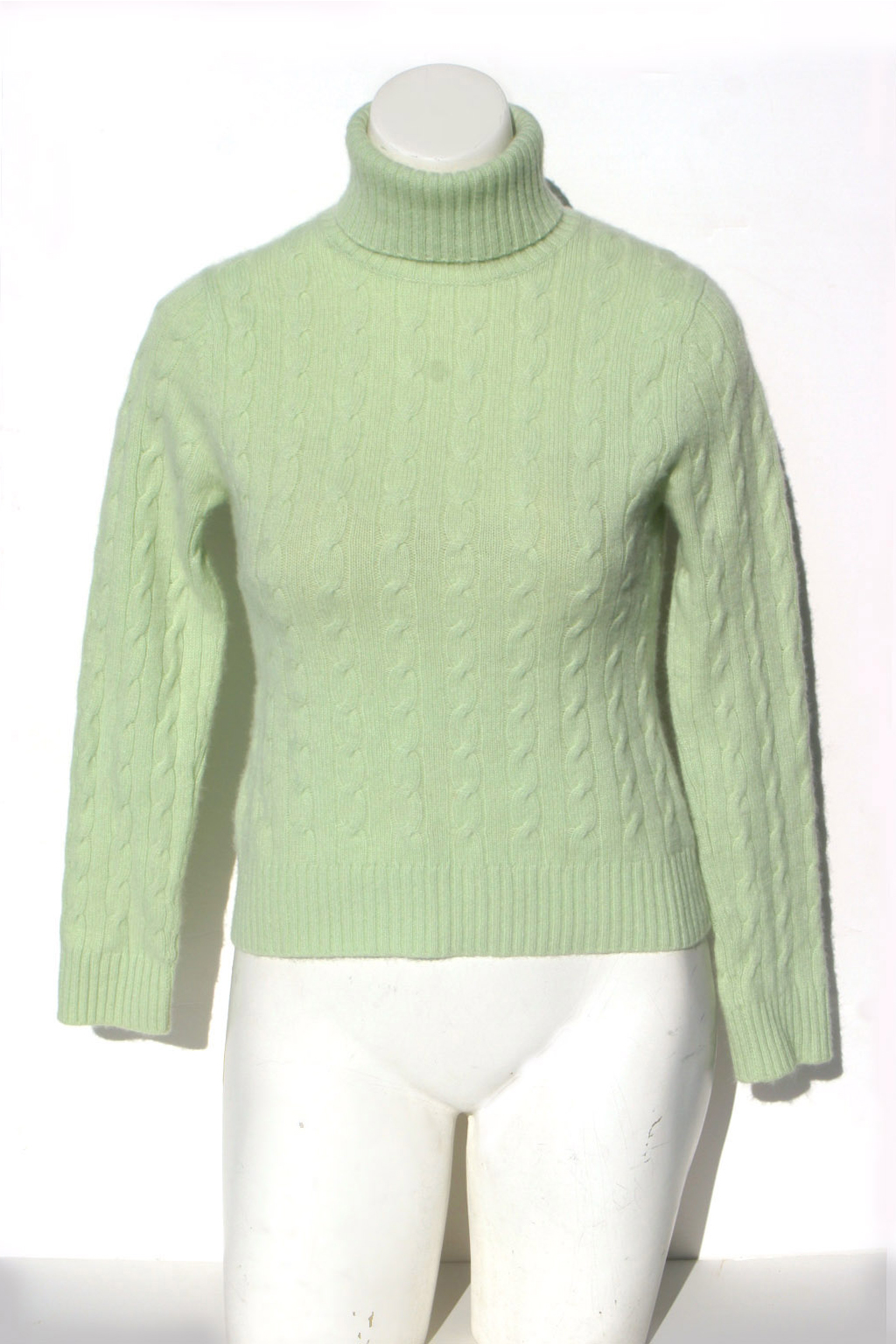 Thrift Shop Sweater Second Hand L Brand Womens Medium Cable Knit Green Turtleneck Cashmere